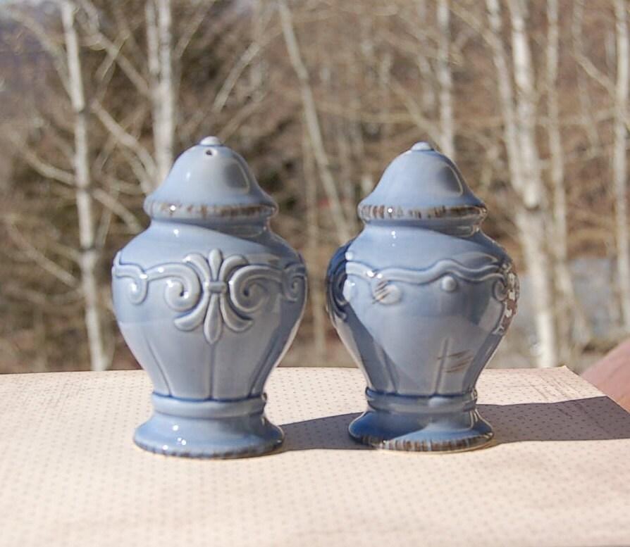 Blue Ceramic Salt And Pepper Shakers