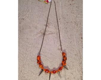 Orange Spike Statement Necklace