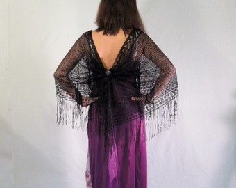 Sale Purple Recycled Slip Dress / Bohemian Dress  / upcycled clothing / Prom Dress / Cape Dress / Alternative Fashion /  By Intrigues