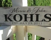 Personalized family sign - distressed - couple wedding gift - family last name, first names and established date   LR-022