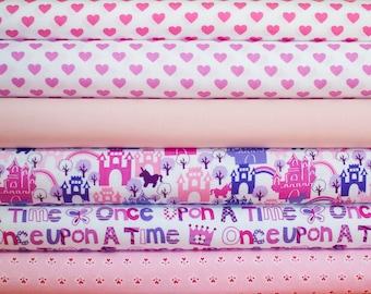 Princess and Hearts Fabric Bundle -  Half Yard Bundle - 6 half yard pieces (B305)