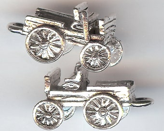 BUCKBOARD Charm. Sterling Silver Plated. 3D Covered Wagon. Prairie Schooner. Made in the USA.