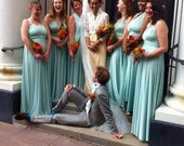RESERVED for Emily's Bridal Party -  9 Princess Custom Infinity Gowns in Sage and 020 Mint
