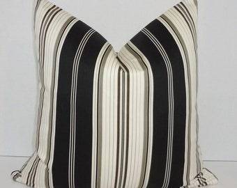 Black Grey Ivory Stripe Pillow Cover Decorative Striped Throw Pillow Cover 18x18
