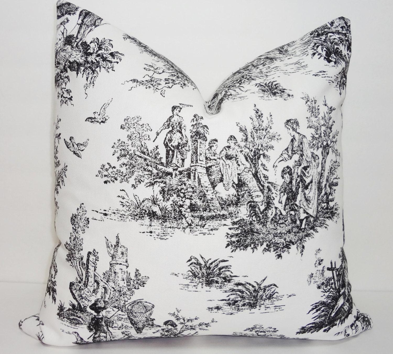 Black Toile Pillow Cover Baby Girl Boy Nursery Throw Pillows