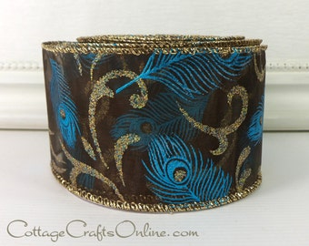 "Wired Christmas Ribbon 2 1/2"" Peacock Feather Blue Brown Sheer Gold Glitter - TEN YARD ROLL -  ""Chocolate Feather"" Wire Edged Ribbon"