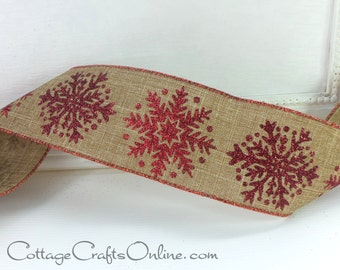 "Christmas Wired Ribbon  2 1/2"" Red, Burgundy Glitter Snowflakes, Tan Linen - THREE & 7/8 YARDS - ""Snowflake Linen"" #70114 Wire Edge Ribbon"