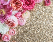 Styled Stock Photo, Flower Stock Product Photography, Floral with Sequins Photo, Peony, Ranunculus, Flower Border, Flower Custom Stock Photo