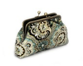 Clutch Purse - Teal and Gold paisley clutch - Bridesmaid Clutch Purse - Wedding Clutch Purse - Evening Clutch Purse