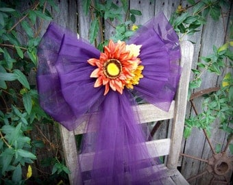 Eggplant Pew Bows, Fall Wedding, Purple Wedding Decor, Church Aisle Decoration, Tulle Bows