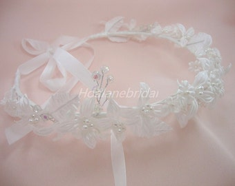 Flower girl halo, pearls and floral wreath with ribbon tie at back, Flower girl Headpiece