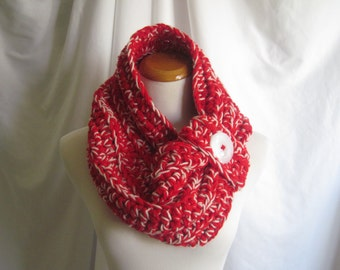 Cowl Chunky Bulky Button Crochet Cowl: Red and Winter White with Button