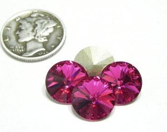 4 Fuchsia Crystal Swarovski 1122 47ss F Rivoli Stones