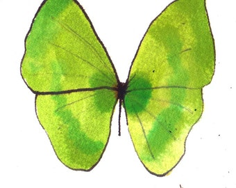 vibrant green butterfly original watercolour painting 7 x 5""