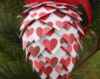 LOVE Paper Pinecone Ornament. Decoration, Christmas, Gift, Birthday, Anniversary, Wedding. Blue, Aqua, Turquoise