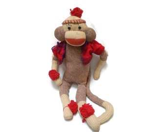 "Classic Sock Monkey  20"" tall Mid Century Toy Red Heel Socks"