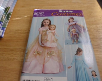 Simplicity Costume Pattern S0797 for girls and dolls