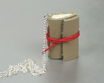 Mini Leather Book Necklace with Red Accents and Silver Chain