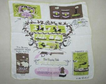 Vintage Pat Prichard Colonial Travel Handkerchief, Vintage Collectibles, Vintage Souvenir, Vintage Hankie