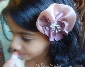 ON SALE Dusty pink girls headpiece. Antique pink flower girls fascinataor with CZ peals and crystals- Bridesmaids Hairclip- mdw-0030