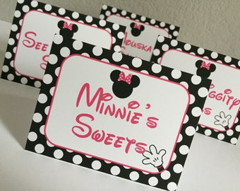 8 Minnie Mouse Personalized and Printed Food Label Tent Cards - Placecards