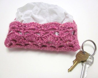Pink Hand-Crocheted Travel-Size Tissue Case, Cover, Cozy, Pocket-Size Kleenex Holder
