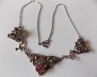 Vintage Czech Filigree Pink Glass Necklace DAINTY