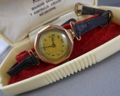 RESERVED for Alma Beltran Watch, 9ct gold, vintage with leather band.