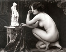 Early 1900s Risqué Nude Female Kneeling by Statue NEW 8x10 Art Print Reproduction