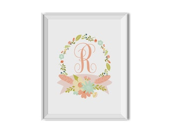 Monogram with Floral Wreath - Nursery Art, Children's Room Decor. Flowers, Monogram, Pink, Navy Blue, Sea Green, Olive, Printable Download