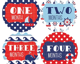 FREE GIFT, Gender Neutral Belly to Baby Month Stickers, Baby Boy, Monthly Baby Sticker Boy, Baby Month Stickers Boy, Red, Navy, Nautical