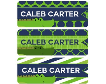 Daycare Labels, Boy, Waterproof Labels, Name Labels, Baby Bottle Labels, Personalized Labels, Waterproof Labels, Alligator, Green, Navy