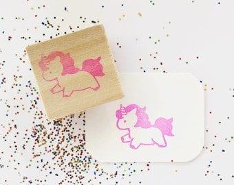 Magical Unicorn Hand Carved Rubber Stamp