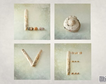 Love sign, I love you print, Coastal Wall art, Seashells, Beach photography, Pastel green, Typography art, Nautical wedding, Engagement gift