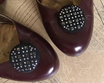 1980s Crystal Shoe Clips. Swarovski Crystals. Black Button Suede (pair)