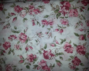 Beautiful OOP shabby chic Marcus antique  multiple shades of pink to make these exquisite roses on white background 1/2 or 1 yard