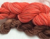 SALE Hand dyed Self Striping Variegated 4ply Knitting Yarn - 'Spaghetti and Meatballs' Colorway