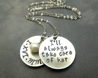 Mother in law necklace, personalized hand stamped stainless steel
