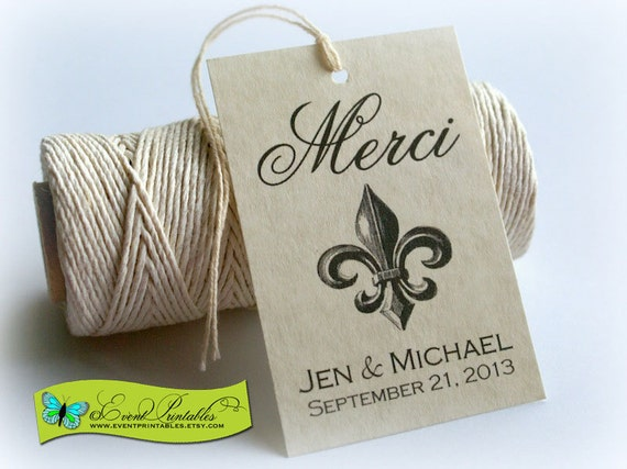 Merci French Thank You Tags, Printable Wedding Favors, Vintage Fleur de Lis, DIY Custom Favour Tags, Bridal Shower Tags by Event Printables
