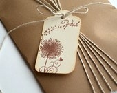 Custom Order for Caitlin - Dandelion Tags - Wish Tags - Brown Satin Ribbon - Set of 8 tags