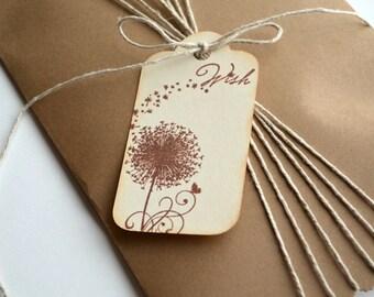 Dandelion Tags - Wish Tags - Brown Satin Ribbon - Set of 6 tags