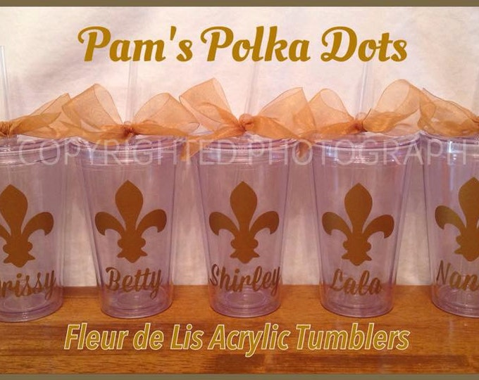 Personalized FLEUR DE LIS Clear Acrylic Tumblers for Mardi Gras Fat Tuesday Wedding Bachelor Party Beer New Orleans