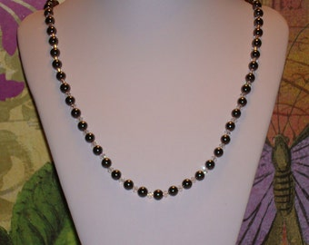"Hematite Beads w/ Crystals 22"" Necklace with Toggle Clasp"