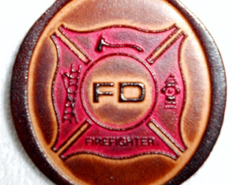 Four pack of Leather Firefighter Keychains, 4 Key Fobs, Fireman Fire Department