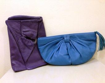1980s Color Girl Clutch Handbags / Purple Leather Purse / Blue Leather Clutch / 1990s neon / Rockstar Bags / 1980s Matching Purses