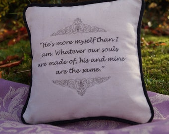 Miniature Emily Brontë Inspired Pillow. Wuthering Heights Quote. Cotton Decorative Pillow