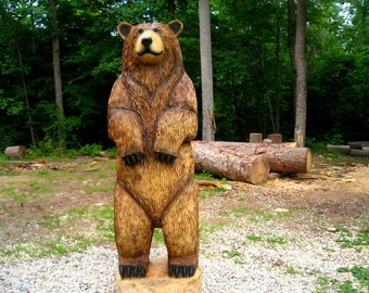 "6-foot Brown Bear Chainsaw Wood Sculpture, ""Cali"""
