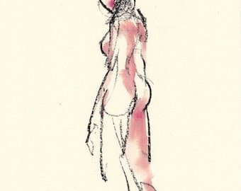 "Gesture 331 original figure gesture watercolor and charcoal 7.5"" x 10.5"" Unframed"