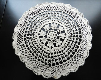 Vintage Beautiful Round Circular Floral Tulips Spider Web Lace Cotton Doily 11 inch