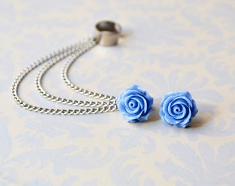 Periwinkle Rose Bloom Triple Chain Silver Ear Cuff Earrings (Pair)